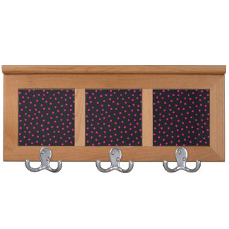 Pink And Black Confetti Dots Pattern Coat Rack