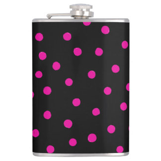Pink And Black Confetti Dots Pattern Flask