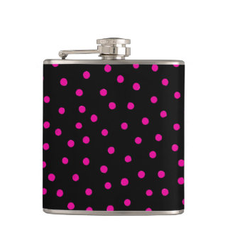 Pink And Black Confetti Dots Pattern Hip Flask
