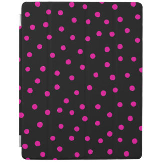 Pink And Black Confetti Dots Pattern iPad Cover
