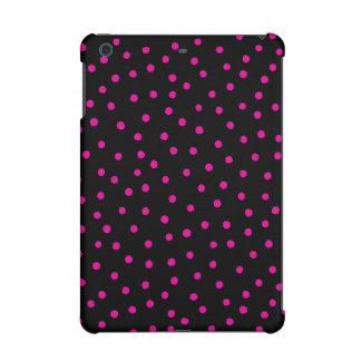 Pink And Black Confetti Dots Pattern iPad Mini Retina Case