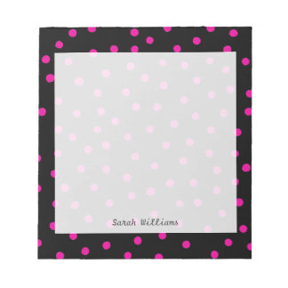 Pink And Black Confetti Dots Pattern Notepads