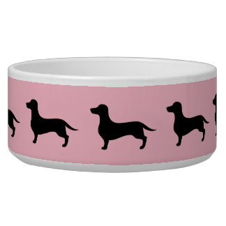 Pink and black dachshund silhouette pattern