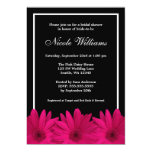 "Pink and Black Daisy Bridal Shower 5"" X 7"" Invitation Card"