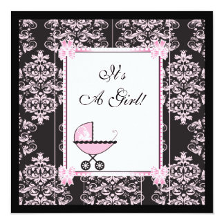 Pink and Black Damask Baby Shower Card