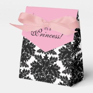 Pink and Black Damask Baby Shower Favor Box