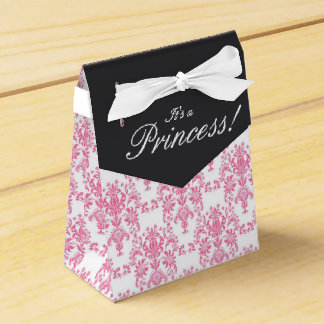Pink and Black Damask Baby Shower Favor Boxes