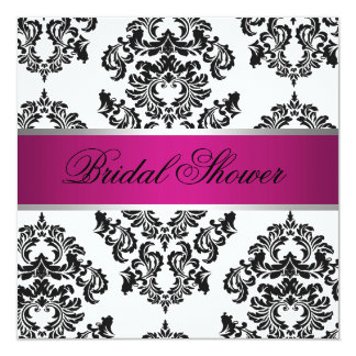 Pink and Black Damask Bridal Shower Card