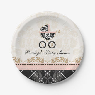 Pink and Black Damask Carriage Baby Shower Paper Plate