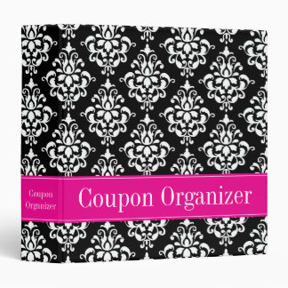 Pink and Black Damask Coupon Organizer Binder