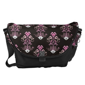 Pink and Black Damask Courier Bag
