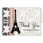 PINK AND BLACK DAMASK EIFFEL TOWER THANK YOU CARD