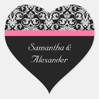 Pink and Black Damask Heart Damask Sticker Seal