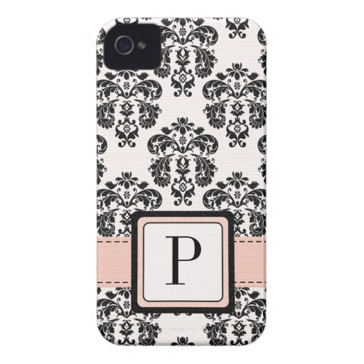 Pink and Black Damask Monogrammed Blackberry Bold Blackberry Cases