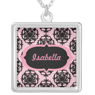 Pink and Black Damask Custom Necklace