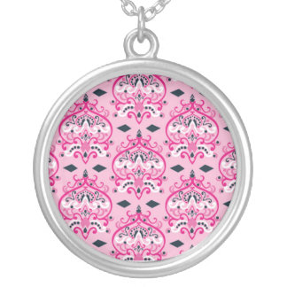 Pink and black damask round pendant necklace