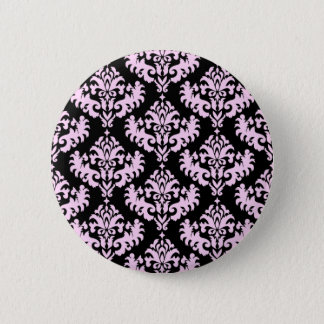 Pink and Black Damask Pattern 2 Inch Round Button