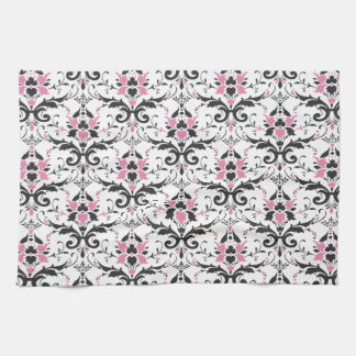 Pink and Black Damask Pattern Kitchen Towel