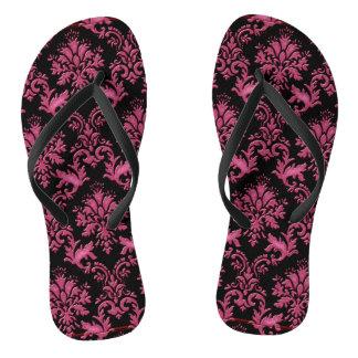 Pink and Black Damask Print Flip Flops