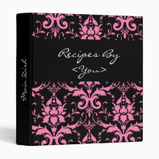 Pink and Black Damask Recipe Cook Book Binder