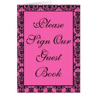 Pink and Black Damask Table Number Card