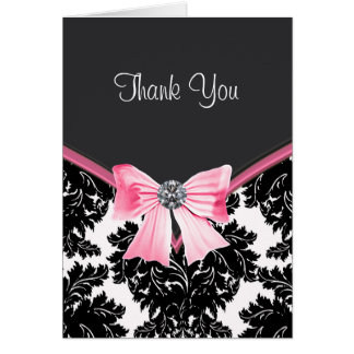 Pink and Black Damask Thank You Cards