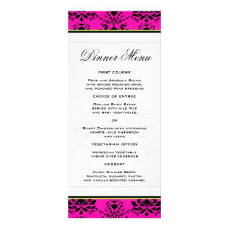 Pink and Black Damask w/ Green Slim Dinner Menu