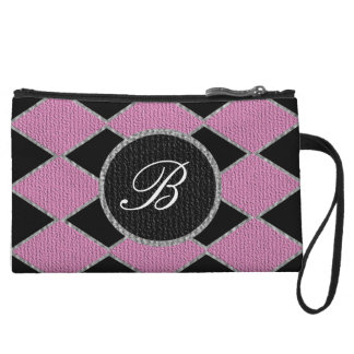 Pink and black diamond monogram sparkle clutch wristlet purses