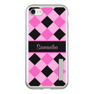 Pink and Black Diamond Pattern Monogram Incipio DualPro Shine iPhone 8/7 Case