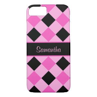 Pink and Black Diamond Pattern Monogram iPhone 8/7 Case