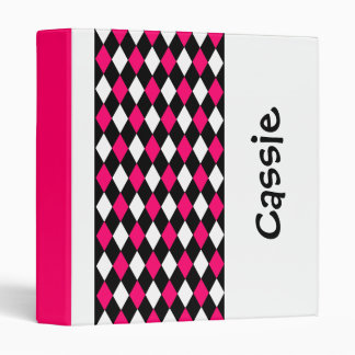 Pink and Black Diamond Personalized Back to School Vinyl Binders