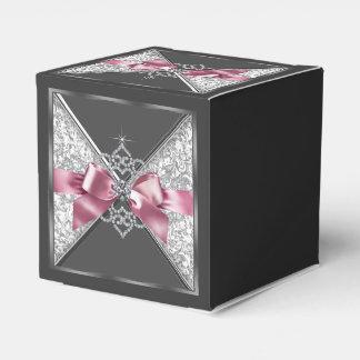Pink and Black Diamond Sweet 16 Favor Box
