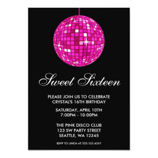 "Pink and Black Disco Ball Sweet Sixteen Birthday 5"" X 7"" Invitation Card"