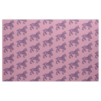 Pink and Black Draft Horse Silhouette Fabric
