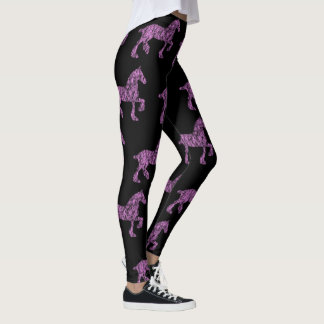 Pink and Black Draft Horse Silhouette Leggings