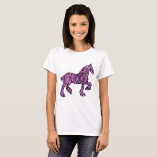 Pink and Black Draft Horse Silhouette T-Shirt