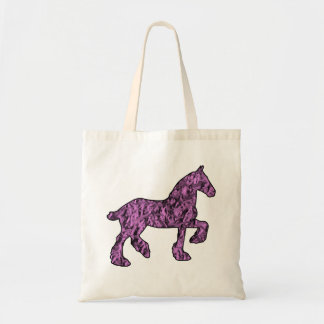 Pink and Black Draft Horse Silhouette Tote Bag