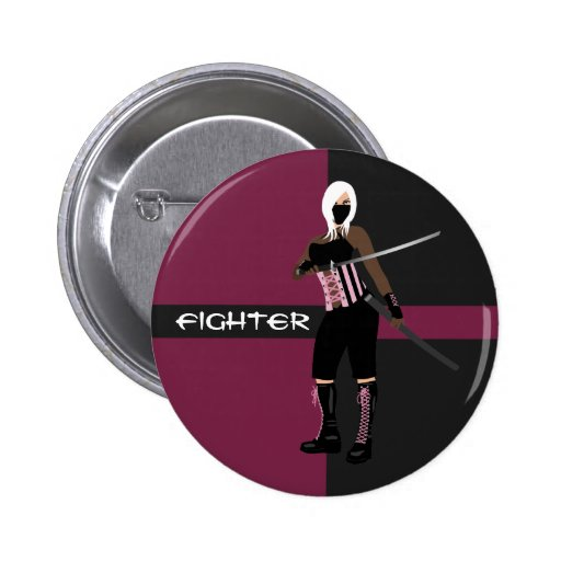 Pink and Black Female Fighter Button