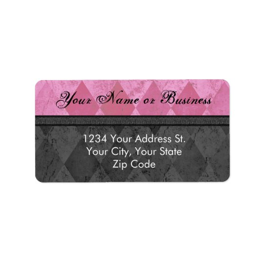 Pink and Black Feminine Address Label