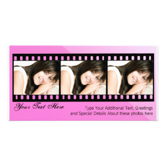 Pink and Black Filmstrip Photo Card