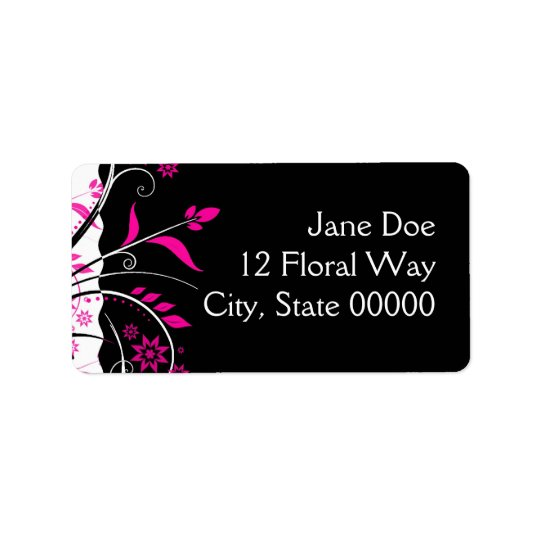 Pink and Black Floral Address Labels