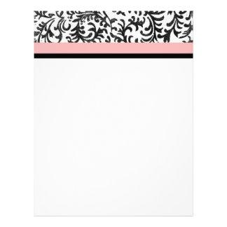 Pink and Black Floral Pattern Letterhead Design