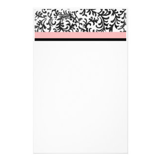 Pink and Black Floral Pattern Stationery