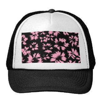 Pink and Black Floral Pattern. Trucker Hat