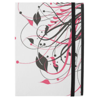 Pink and Black Floral Print iPad Case