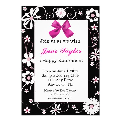 Pink and Black Floral Retirement Party Invitation