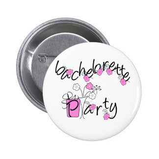 Pink and Black Flowers Bachelorette Party 2 Inch Round Button