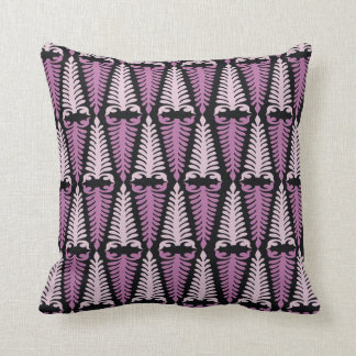 Pink And Black Folk Art Pattern Throw Pillows