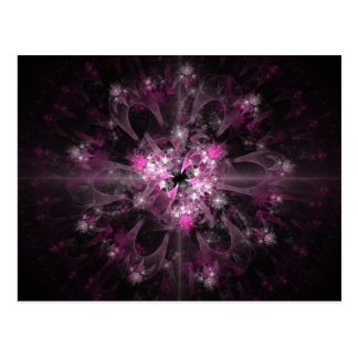 Pink And Black Fractal Postcard