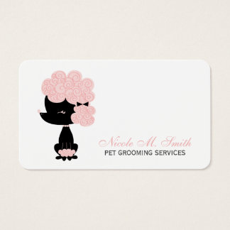 Pink and Black French Poodle Business Card